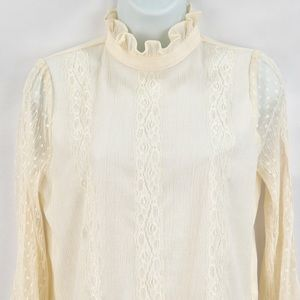J.O.A. Women's Lace Mock Neck Ivory Blouse NWT
